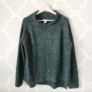 H&M Speckled Green Cowl Neck Sweater
